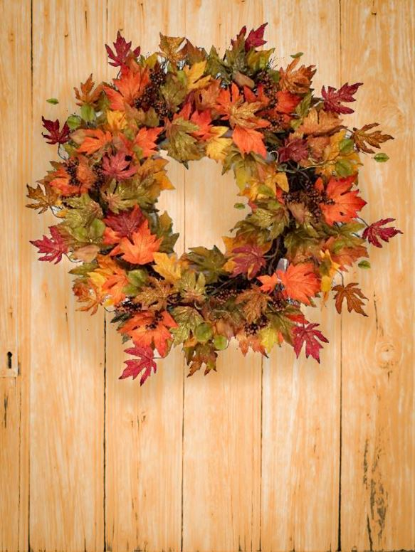 Leaf Wreath on Wooden Door - Autumn Decorating