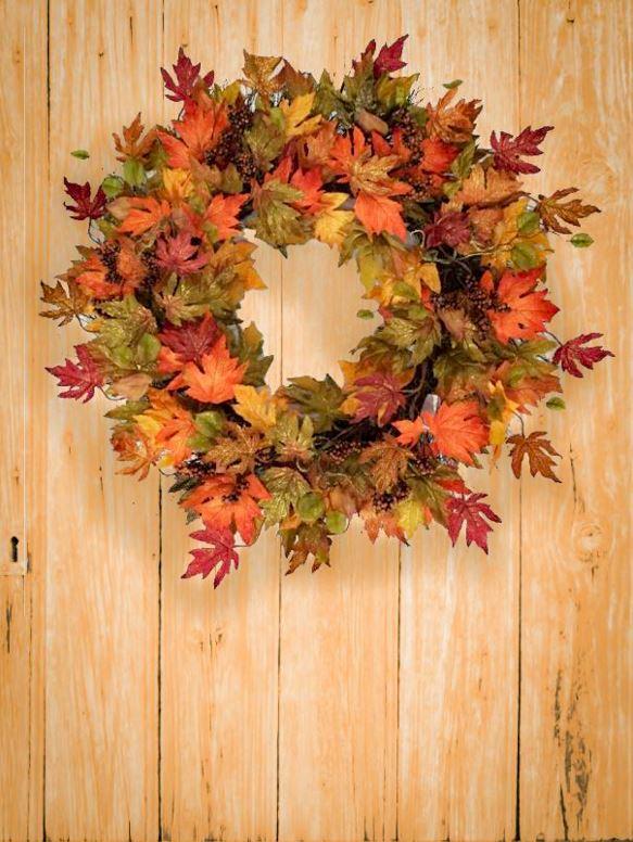 Leaf Wreath on Wooden Door - Autumn Decorating